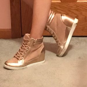 Rose Gold Wedge Sneakers